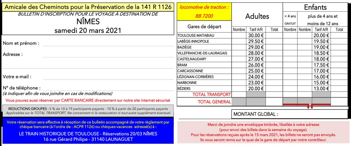 Bulletin d'inscription NÎMES 20 03 2021