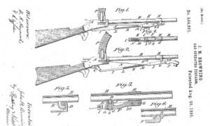 John Browning's patent for a gas operated carbine that uses swinging piston below the barrel. This patent was later used as a base for Colt Browning M1895 machine gun
