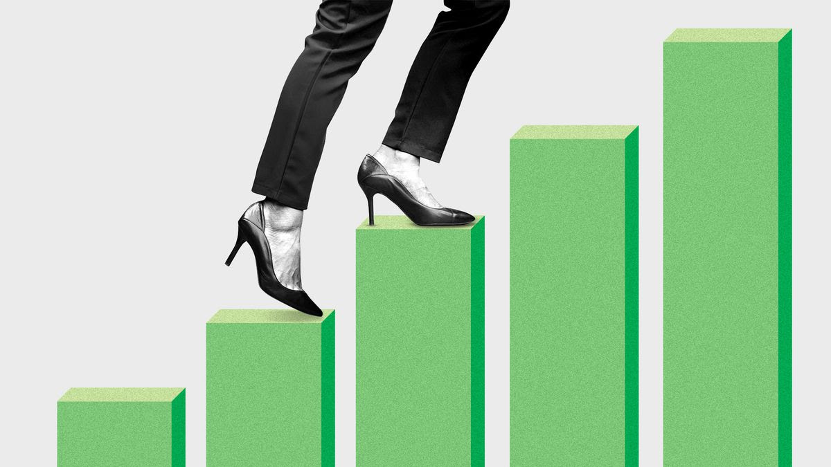 Illustration of a bar chart arranged like stair steps, with high heeled feet walking up them.