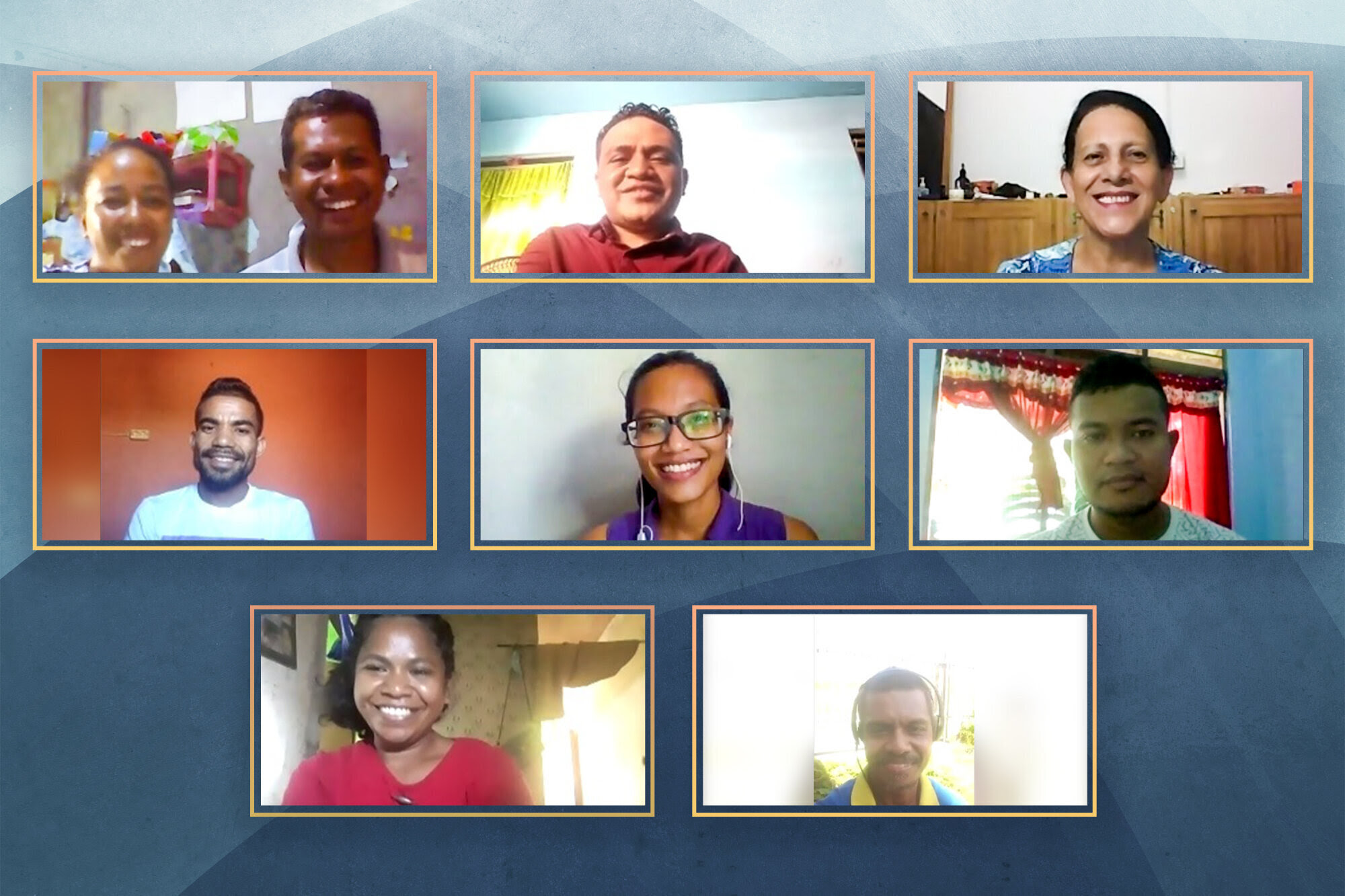 The nine members of the newly elected National Spiritual Assembly of the Bahá'ís of Timor-Leste gather online for their first meeting.