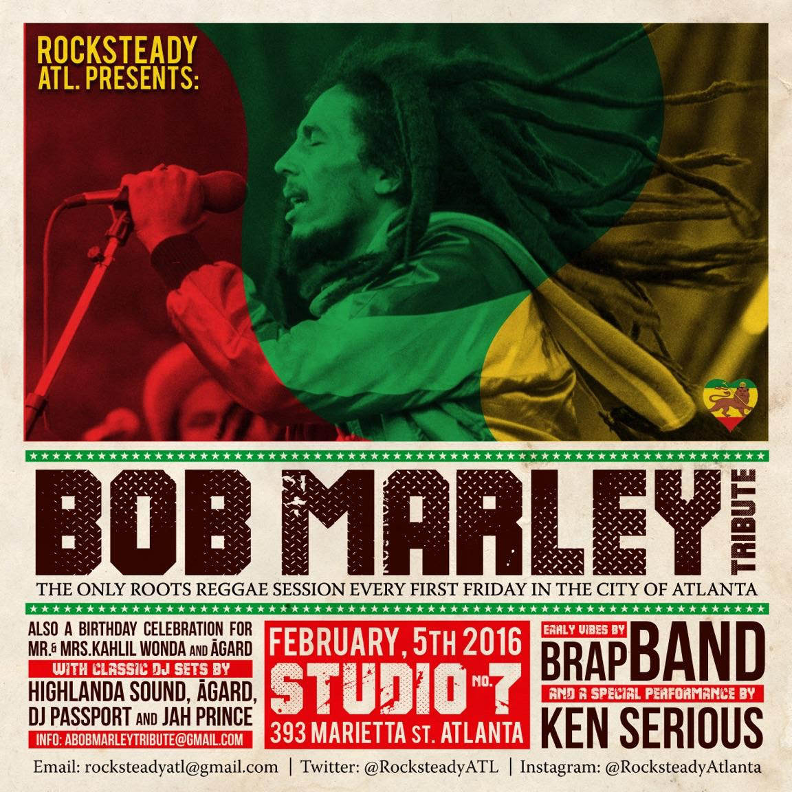 FRI, FEB 5, 2016 AT 9:00 PM BOB MARLEY 71ST BIRTHDAY BASH AND AQUARIUS CELEBRATION Studio No. 7, Atlanta, GA