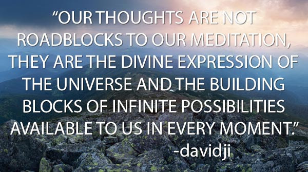 Our thoughts are not roadblocks to our meditation, they are the divine expression of the universe and the building blocks of infinite possibilities available to us in every moment. -davidji