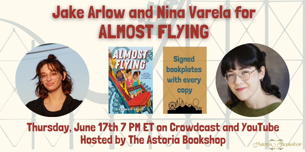 Alt: Jake Arlow and Nina Varela's headshots along with the cover of ALMOST FLYING and the details of the event as listed below