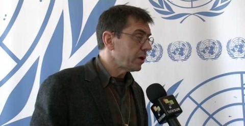 Juan Carlos Monedero en una entrevista este martes, en la reunión de la ONU.