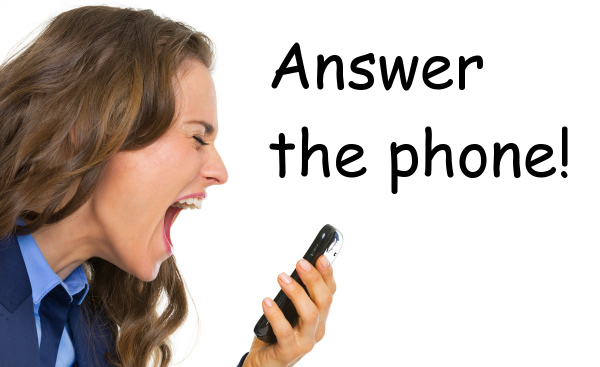 girl screaming into a phone with text that says Answer the phone