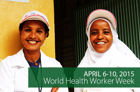 April 6-10, 2015 is World Health Worker Week. Two smiling health officers at a health center in the SNNP Region of Ethiopia