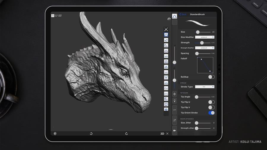 digital 3D sculpting and texture painting application for iOS