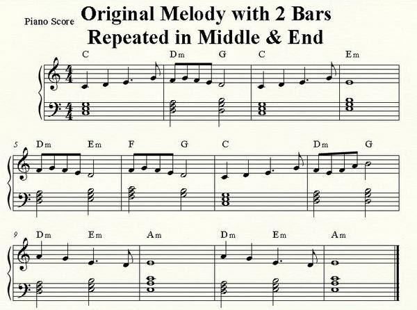Original Melody with 2 Bar Repeated in Middle & End