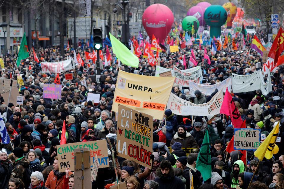 Paris fue el epicentro del paro con movilización en contra de la reforma jubilatoria.