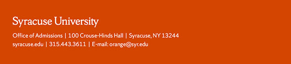 Syracuse University Admissions email footer