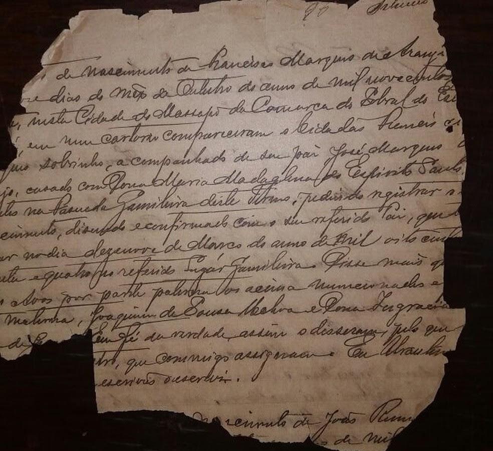 Em alguns casos, genealogistas recorreram a registros históricos incompletos. Documentos da Inquisição portuguesas são fontes de Assis Arruda (Foto: Reprodução)
