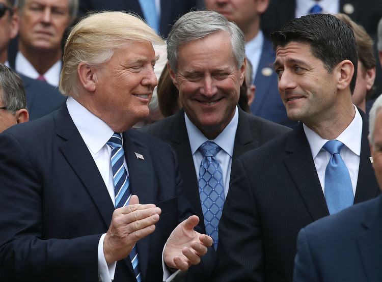 President Trump celebrates the House passing a health-care bill with House Speaker Paul Ryan last month. (Mark Wilson/Getty Images)</p>