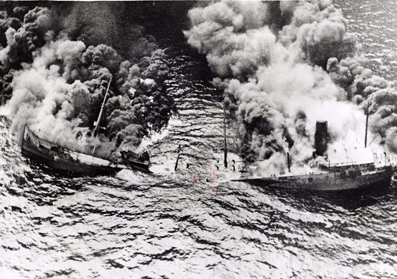 German U-Boats sink U.S. ships off the coast of the Outer Banks in 1942.