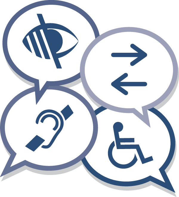 accessibility icons inside talk bubbles