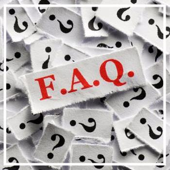 FAQ question marks on white papers -hard light
