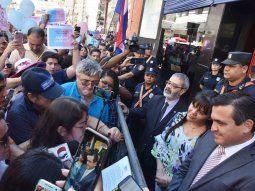 Manifestación. El ministro Eduardo Petta y sus viceministros durante la marcha provida.