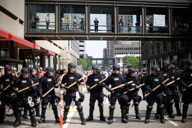 The police responded to a protest in downtown St. Paul during the 2008 Republican National Convention.