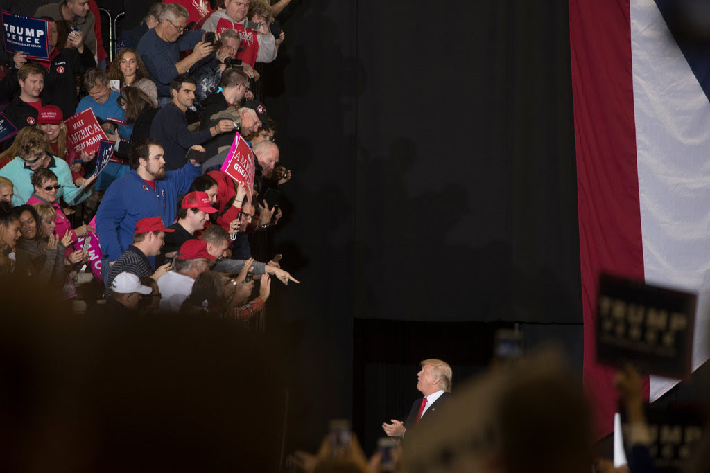 """Donald J. Trump on Thursday in Toledo, Ohio. A report quoted a top campaign official describing a """"voter suppression"""" effort, but it did not specify any illegal or aggressive tactics."""