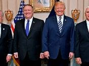 (Left to right) National Security Advisor John Bolton, Secretary of State Mike Pompeo, President Donald Trump and Vice-President Mike Pence have been upping the pressure on the Venezuelan government.