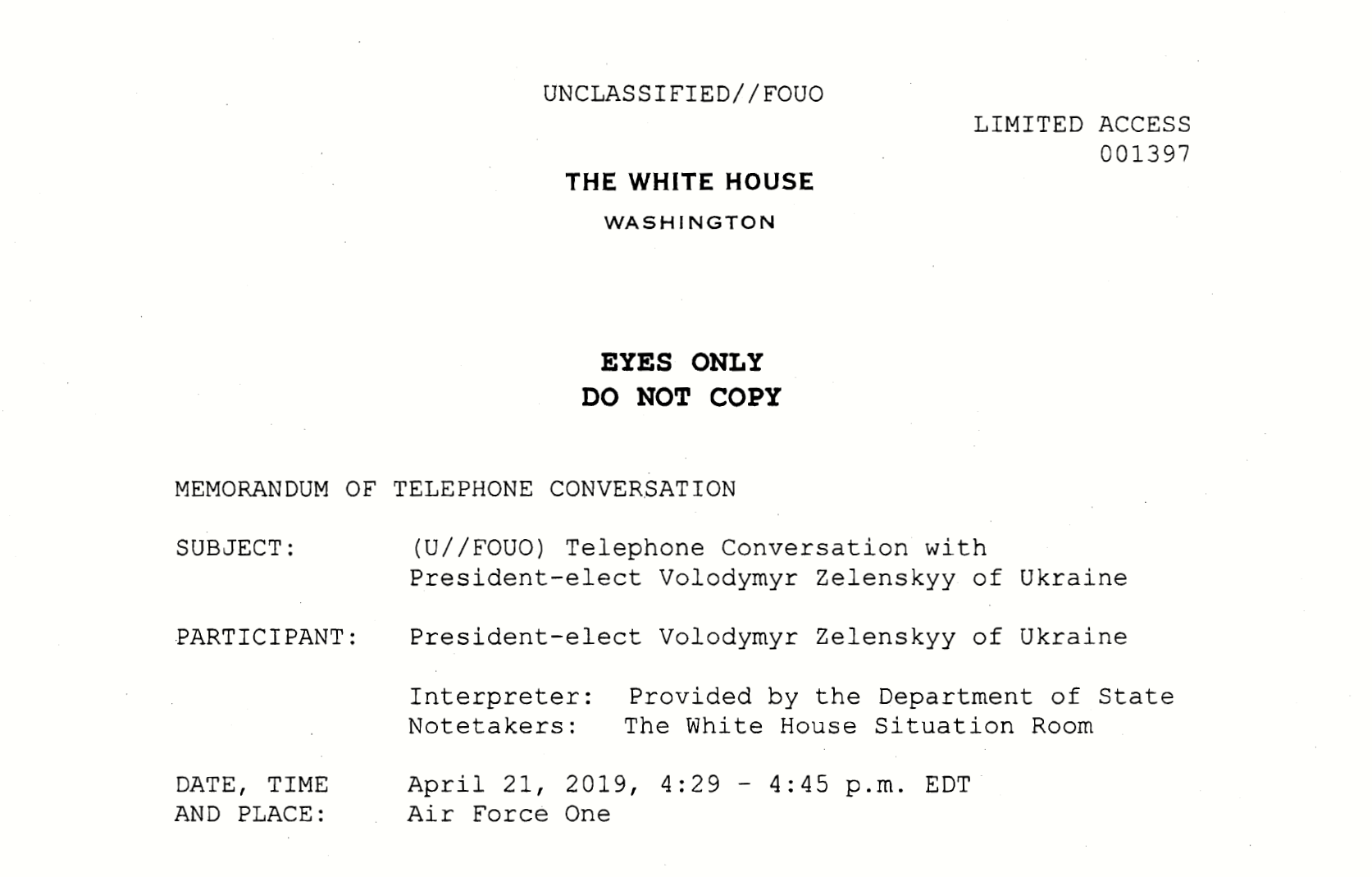 White House releases rough transcript of early Trump call to Ukraine president minutes before impeachment hearing   TheHill