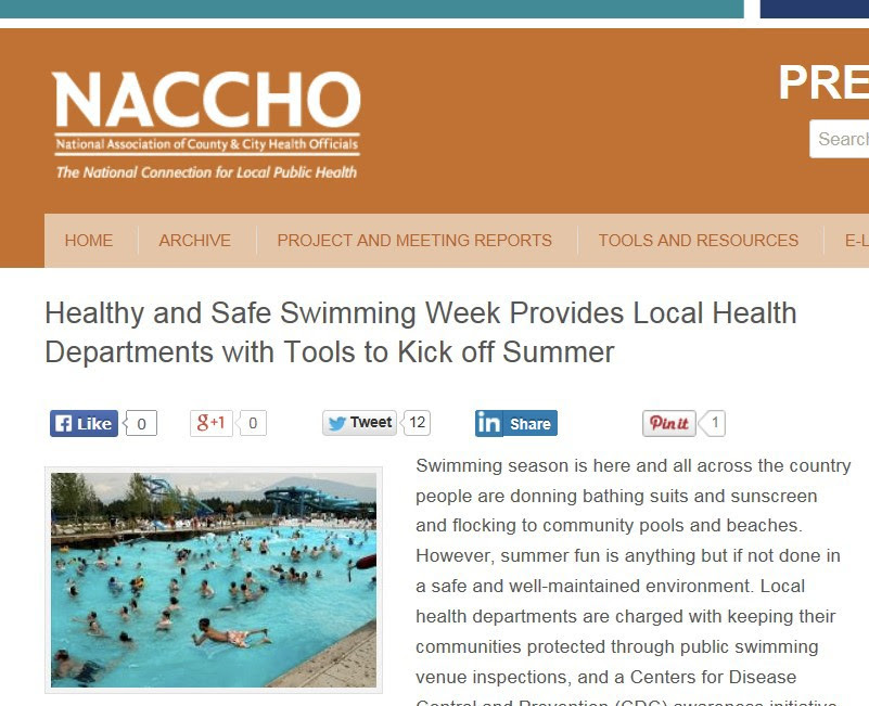 NACCHO Blog about Resources for Pool Programs