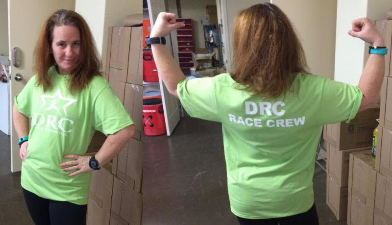 Brand-new DRC race crew shirts for our volunteers modeled by DRC Volunteer Director Erin Jett
