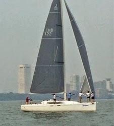 J/122E Skadoosh- sailing off Mumbai, India