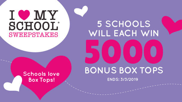 i love my school sweeps- 5 schools will each win 5000 bonus box tops