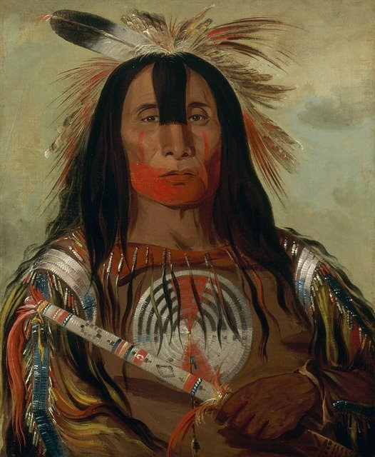 Painting of Blackfoot Native Am. Indian by George Caitlin