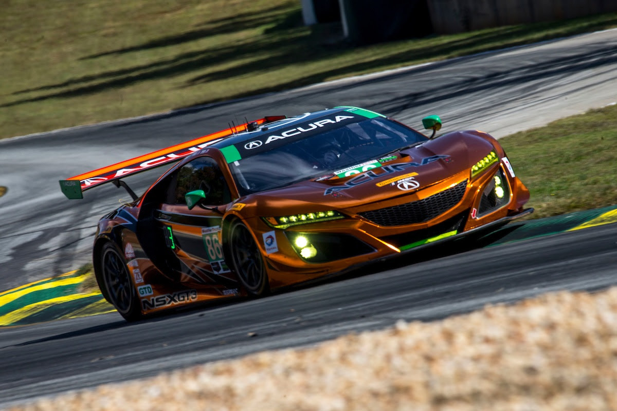 front row on petit le mans grid for michael shank racing with curb