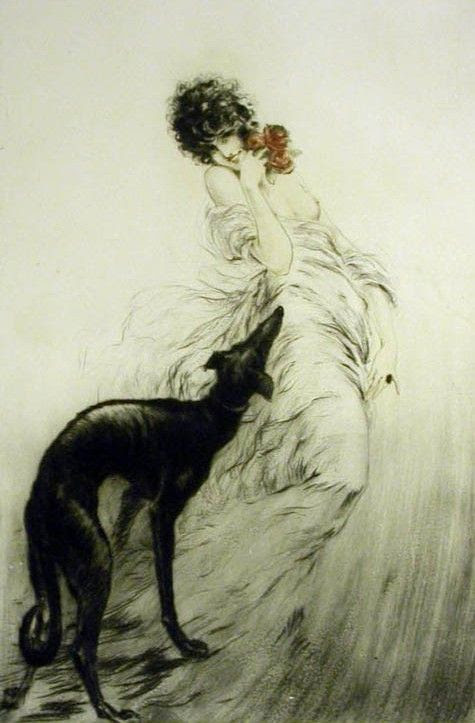 Louis Icart (French, 1880 - 1950) - Favorite Scent | Greyhound art, Dog  art, Art