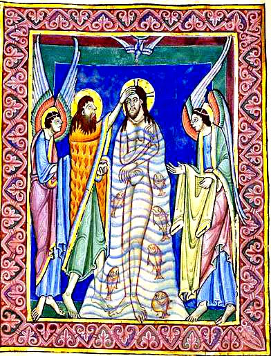 "12_St. Albans Psalter_Baptism, The Artwork: Baptism, The Artist: UNKNOWN; Illustrator of 'St. Albans Psalter', England, first half of 12th century Date: First half of the 12th century Technique: Miniature Location: University of Aberdeen, Historic Collections Notes: From the ""St. Albans Psalter"", created at St. Abans Abbey essentially by Geoffrey de Gorham (or Gorron), Abbot of St. Albans (1119-46) Subject: The Baptism Hosts: University of Aberdeen, Historic Collections [IMAGE]"