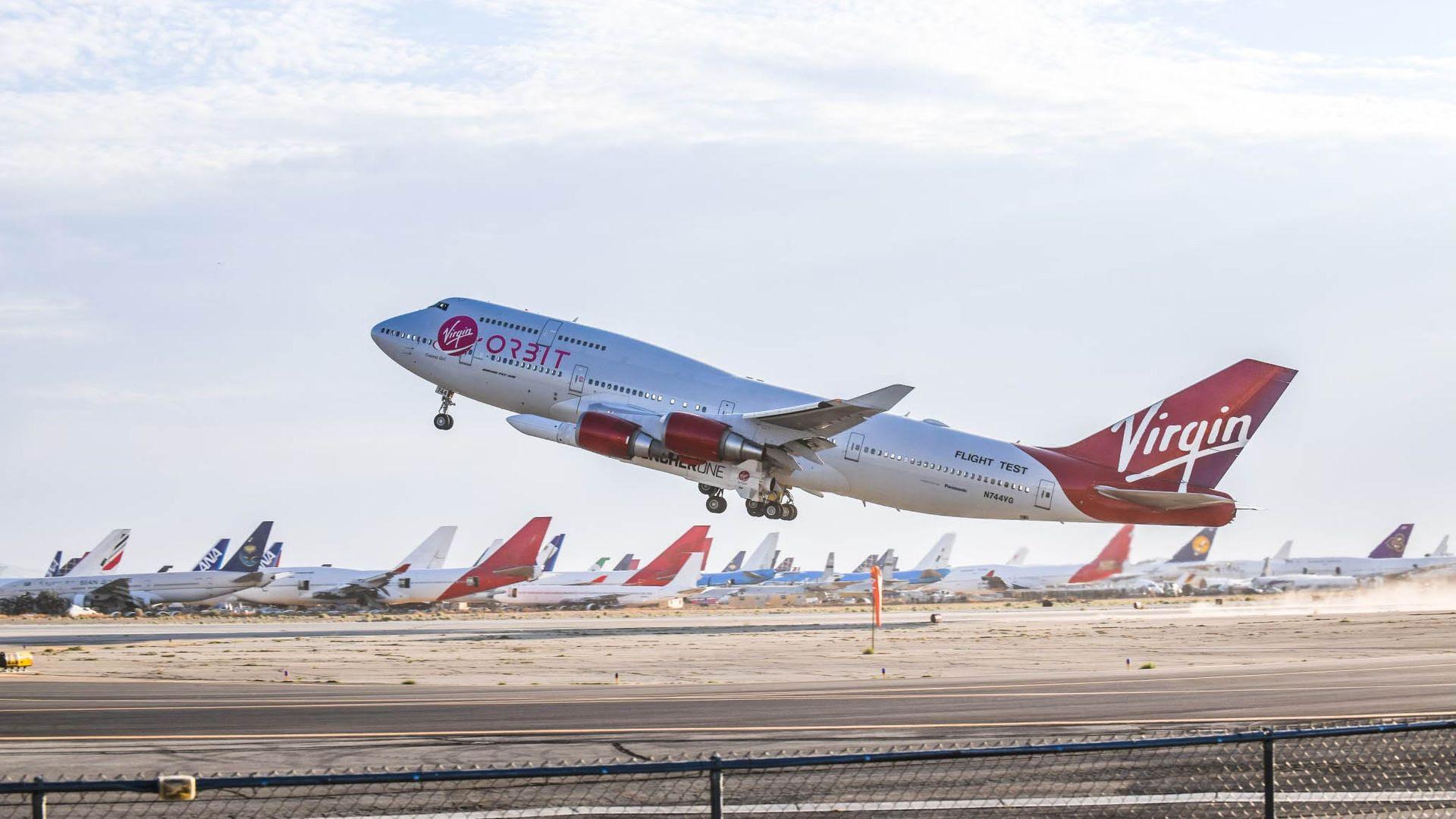 A Virgin Orbit plane takes flight from California.