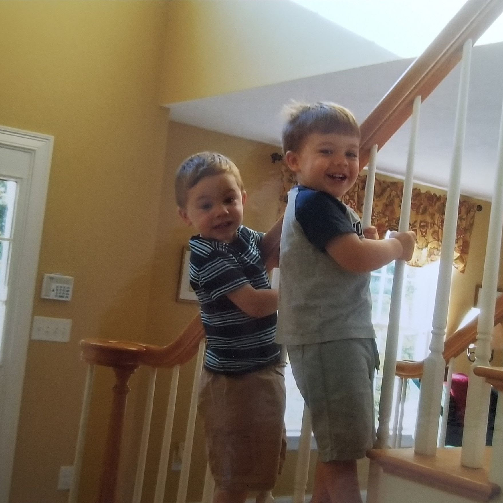 My boys climbing the wrong side of the stairs