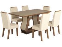 Conjunto de Mesa com 6 Cadeiras Estofadas
