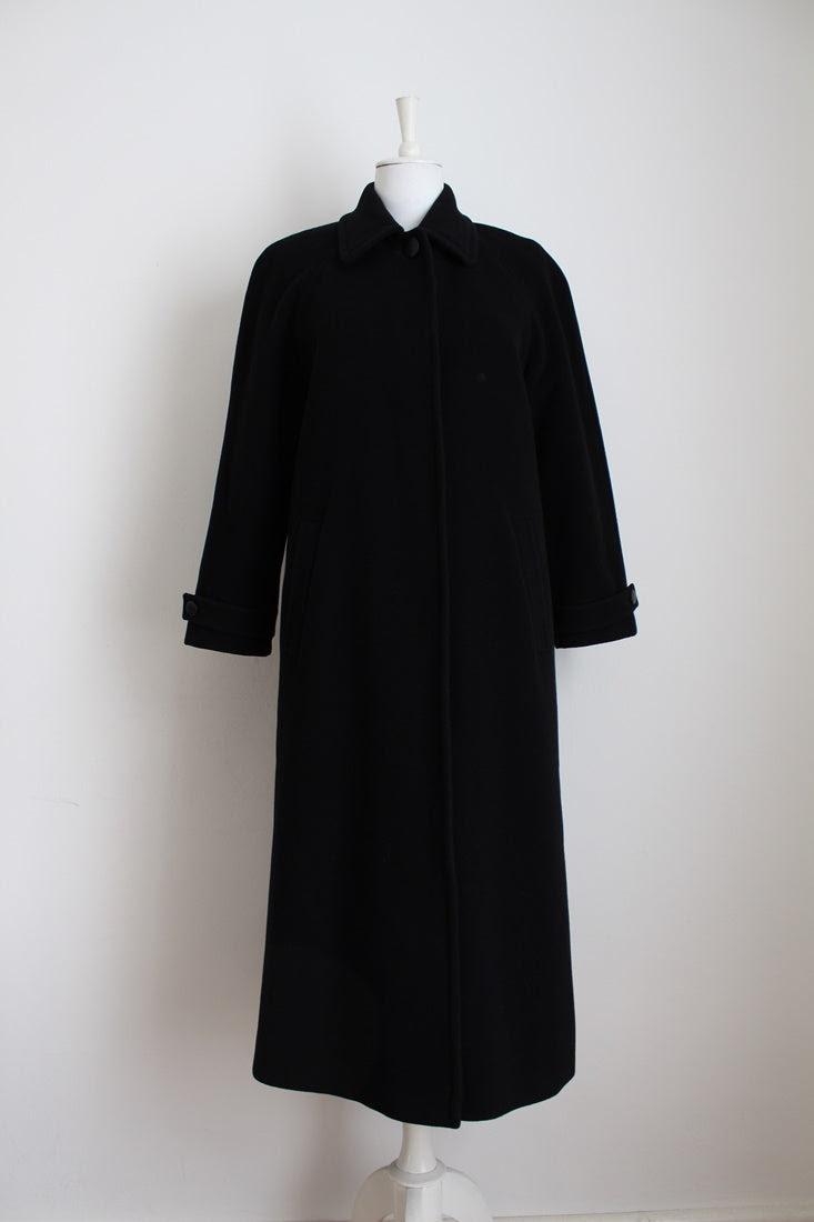 VINTAGE CASHMERE WOOL BLACK LONG COAT - SIZE 12