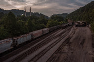 A train yard near a power plant in Cleveland, Va., on Wednesday.