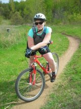 Sam's first mountain bike experience.  2009.