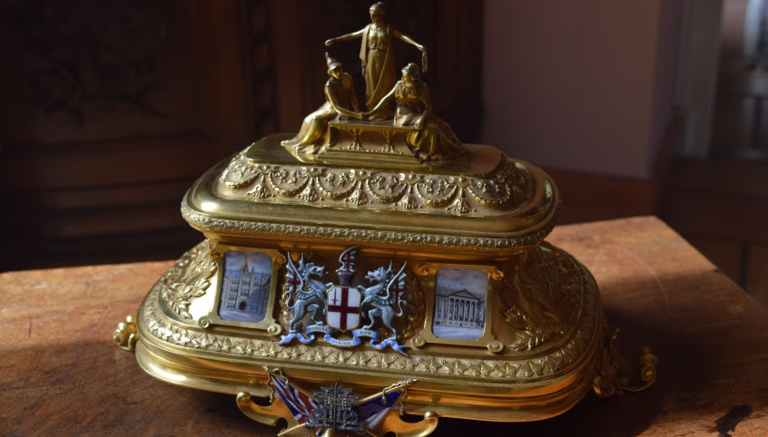 """Up-close photo of the golden chest featured in the treasure hunt, """"The Golden Treasure of the Entente Cordiale."""""""