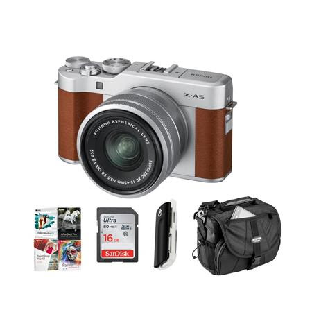 X-A5 24.2MP Mirrorless Digital Camera with XC 15-45mm f/3.5-5.6 OIS PZ Lens, Brown - Budle