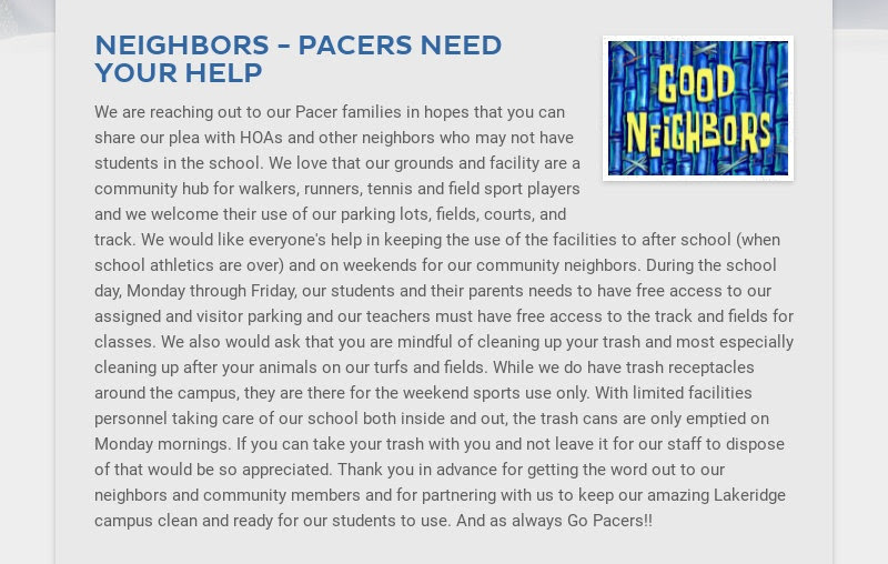 NEIGHBORS - PACERS NEED YOUR HELP We are reaching out to our Pacer families in hopes that you can...