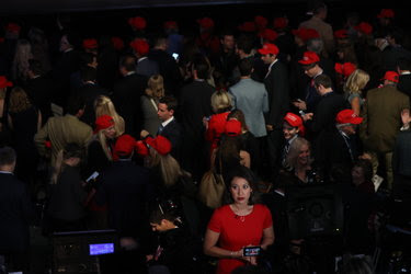 Members of the news media at Donald J. Trump's party on Tuesday. Many pollsters failed to foresee the outcome of the election.