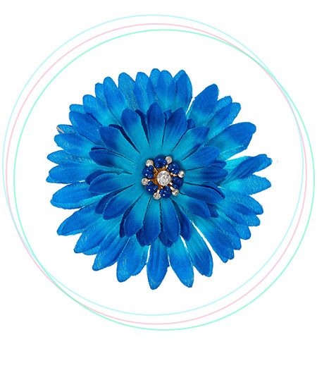 Navy Blue Ombre Tropical Flower Hair Clip