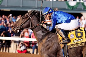 Maxfield and jockey Jose Ortiz win the Breeders' Futurity at Keeneland