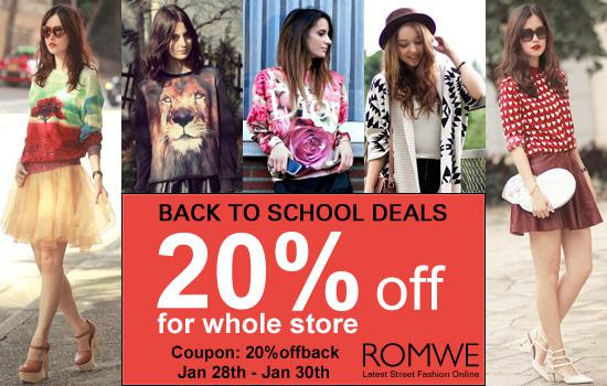 Romwe 20% Off Back to School Deal, free shipping worldwide!