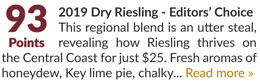 2019 Dry Riesling - 93 Points, Editors' Choice