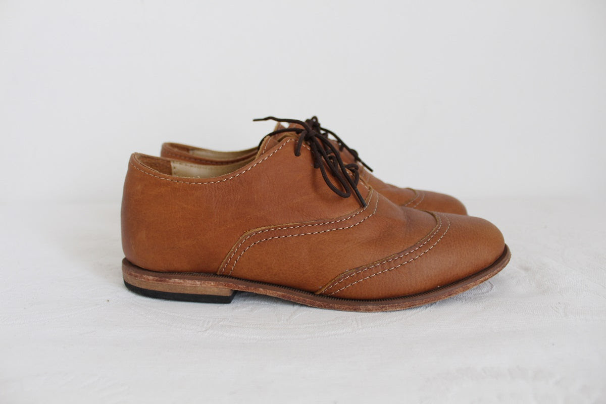 VINTAGE GENUINE LEATHER TAN OXFORD SHOES - SIZE 5