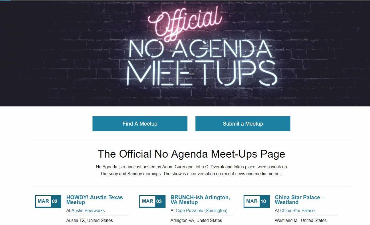 No Agenda Meetup banner