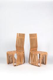 Par de cadeira de alta aderência em madeira de bordo