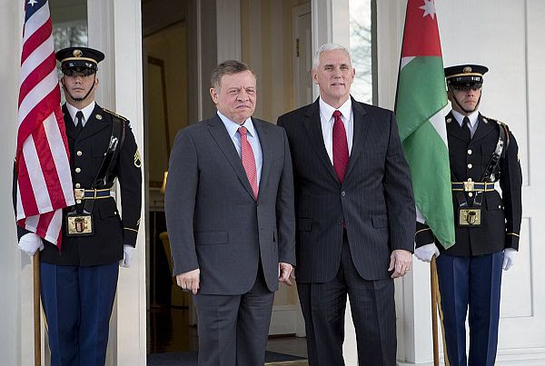 Jordan's King Abdullah II and U.S. Vice President Mike Pence in Washington DC
